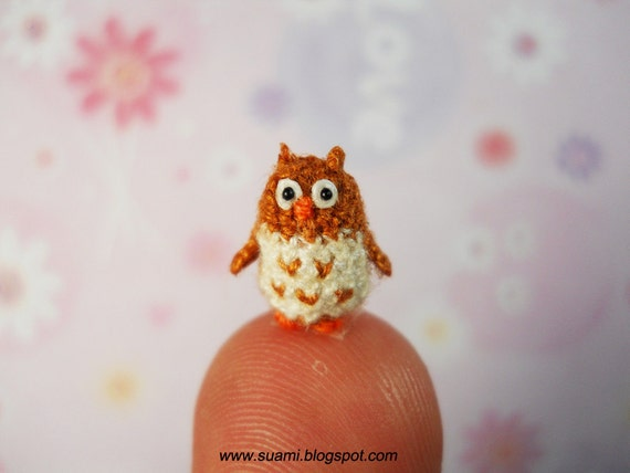 Super Tiny Owl Brown 07 Fat Micro crochet miniatures collectibles toys, OOAK
