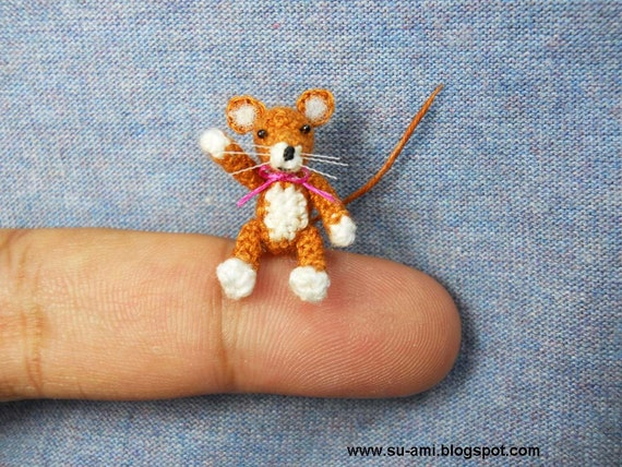 Lovely Brown Mouse Rat - Micro Amigurumi Crochet Miniature Animals - Made To Order