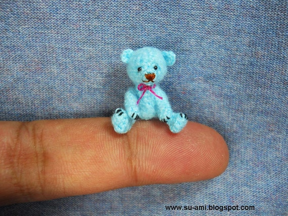 Tiny Mohair Bear - 1 Inch Miniature Teddy Bear - Blue Bear Plush Toy - Micro Crochet Bears  - Pink Bow
