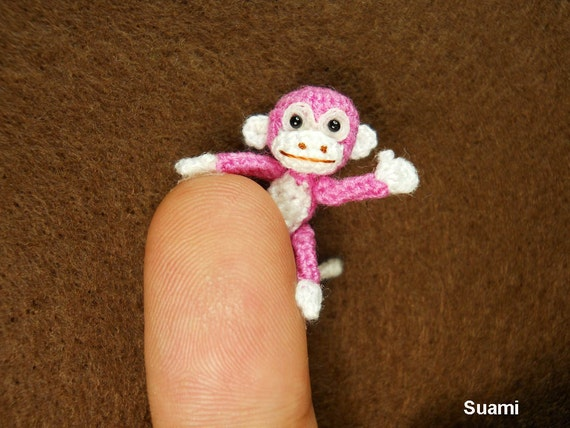 Micro Mini Pink Monkey - 1 Inch Miniature Crocheted Monkeys - Made To Order