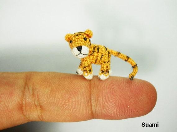 Miniature Tiger Stuffed Animal - Small Crochet Tiny Amigurumi Animal Doll Toy - Made To Order
