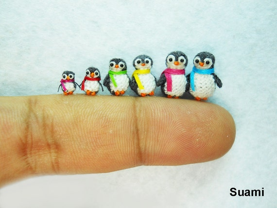 Penguin Family - Micro Crochet Miniature Penguins - Set of Six Penguin Chicks - Made To Order