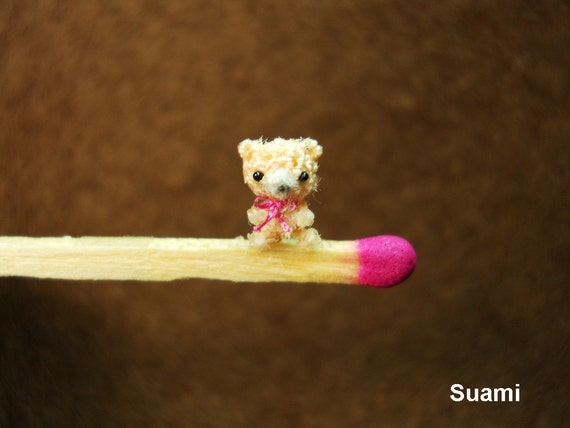 Extreme Micro Bear - Tiniest Dollhouse Miniature Bears - 1/4 Inch Scale Crochet  Cream Bear Pink Bow