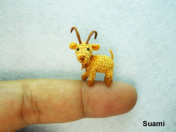 Miniature Fawn Goat - Teeny Tiny Crocheted Goats - Made To Order