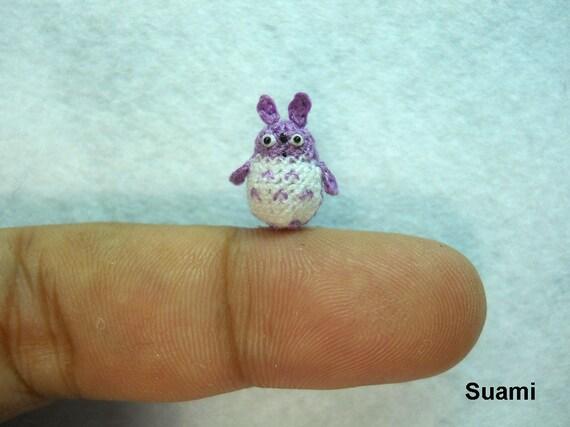 Micro Purple Totoro - Tiny Mini Dollhouse Miniature Animals - Crochet Woodland Rabbit - Made To Order
