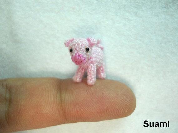 Miniature Crochet Pink Piglet - Mini Tiny Crochet Pig Amigurumi - Made To Order