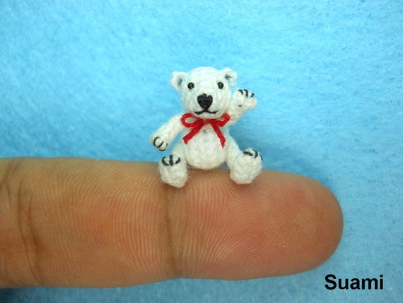 Micro Polar Bear Stuff Animal - Miniature Thread Crochet Bear Amigurumi - Made To Order