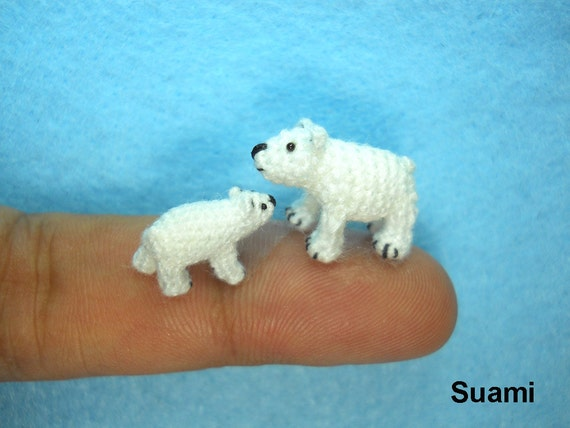 Micro Polar Bears  - Tiny Crochet Miniature White Bear - Set of Two Arctic Polar Bears - Made To Order