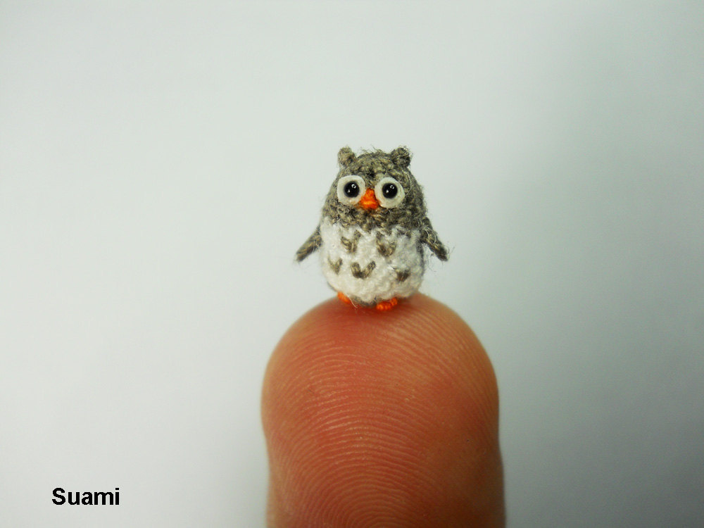 Amigurumi Mani : Miniature Crochet Owl Micro Mini Amigurumi Grey Owl Made