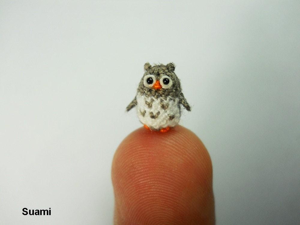 Miniature Crochet Owl Micro Mini Amigurumi Grey Owl Made