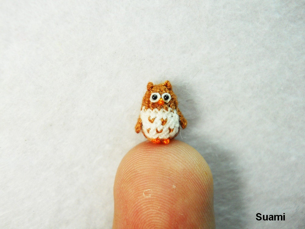 Micro Mini Brown Owl Tiny Handmade Crochet Amigurumi