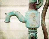 Water Faucet Print, Aqua Bathroom Decor, Mint Bathroom, Laundry Room, Rustic Kitchen Decor, Water Pump Picture, Rustic Bathroom Art.