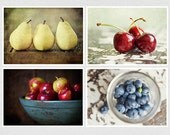 SAVE 30% - Rustic Kitchen Decor Set. Food Photography. Discounted Set of 4 5x7 fine art prints. Cherries, Pears, Blueberries, Apples. Gift.