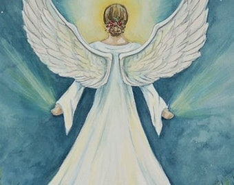 """Lightworker,  8""""x10"""" matted print of an Angel by Renee' MacMurray"""