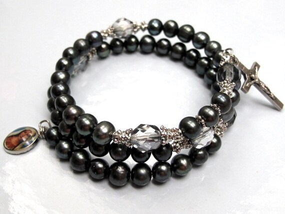 Wrap Rosary Bracelet with Black Fresh Water Pearls (Free Shipping for US and Can.)