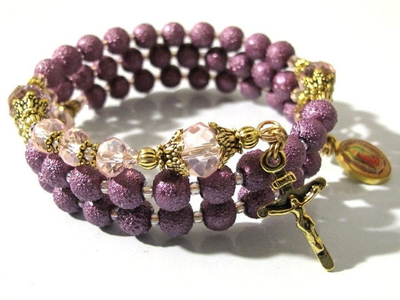 Wrap Rosary Bracelet Victorian Antique Style Rugged Pearl Beads (Free Shipping for US and Can.)