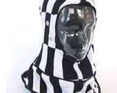 Black and White Checkers Caninja- Balaclava Hood Scarf Hat- Size Small