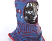 Blue and Red Abstracted Caninja- Balaclava Hood Scarf Hat- Size Small