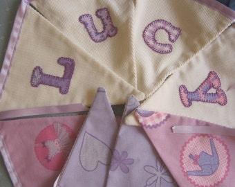 Lucy personalized hand stitched bunting with a ballet theme by Emma Bunting
