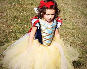 Snow White Tutu Dress w/ cape and Hairbow