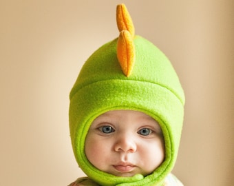 Green and Yellow Dinosaur Fleece Hat with Snap Closure