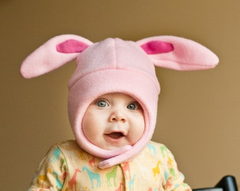 Pink on Pink Bunny Rabbit Baby/Toddler Fleece Hat