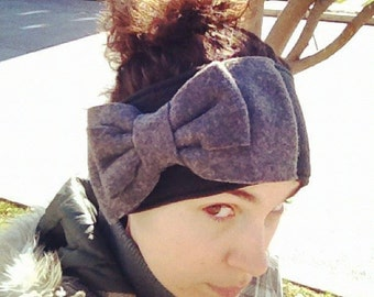 Giant Oversized Bow Fleece Ear Warmer Head Band with Button Closure