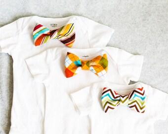 Bow Tie Bodysuit Gift Set Choose 3 Bow Ties Any 3 Sizes NB 3M 6M 9M 12M 18M
