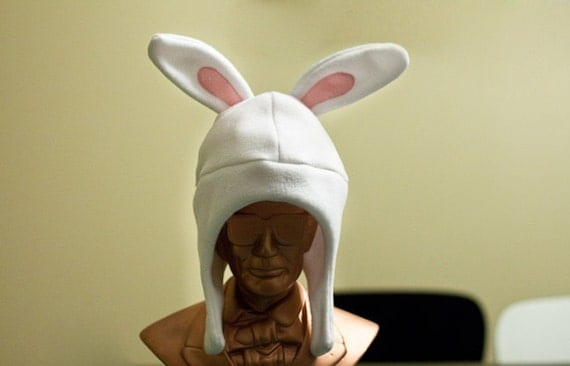 White Rabbit Child or Adult Fleece Hat with Chin Strap and snap closure