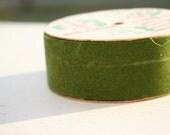 Vintage Christmas Ribbon 1960s-70s Dark Green Flocked Velvet