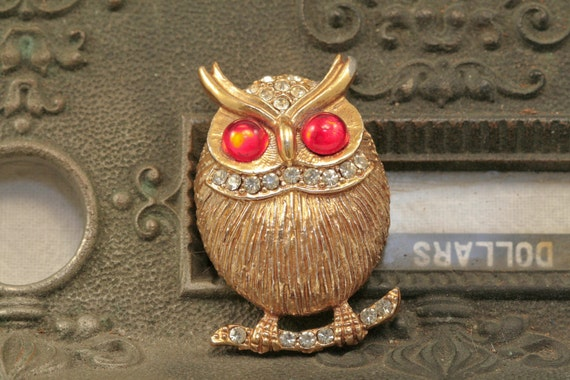 Gold and Red Rhinestone Owl Brooch