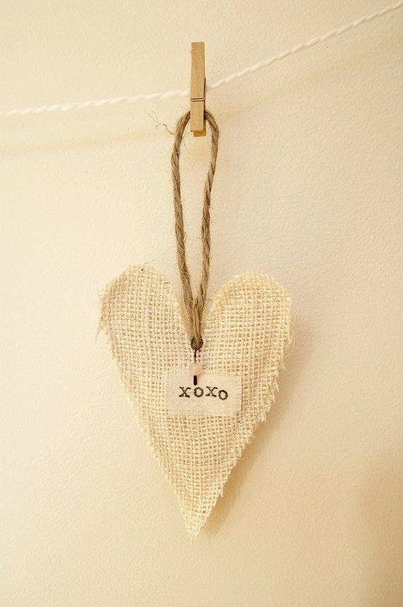 XOXO burlap heart