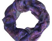 Silk Scarf Digitally Printed- Cobalt Gazania Design
