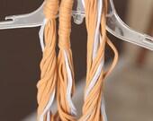 orange grey white recycled t-shirt scarf necklace