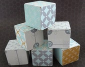 Retro Modern Baby - SET OF 6 - Pale Blue/Yellow/Grey Baby and Toddler Toy or Decoration Wooden Blocks