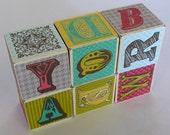 Rustic Whimsical and Retro Baby Alphabet Blocks  - Set of Six - Toy or decor wood block set