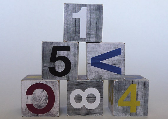 Grey Wood Grain Alphabet Block Set of 6 - Baby and Toddler Toys or Decoration Blocks - Modern Colors