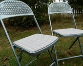 Vintage Hampden Chairs Silver Blue Fold Up Set of 4