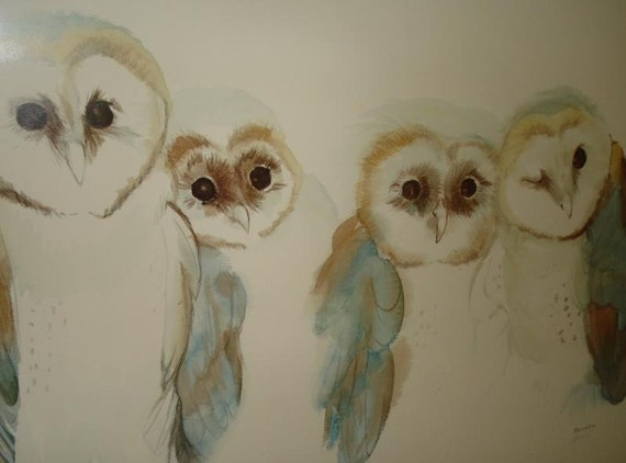 Barn Owls Hand Signed Numbered Lithograph