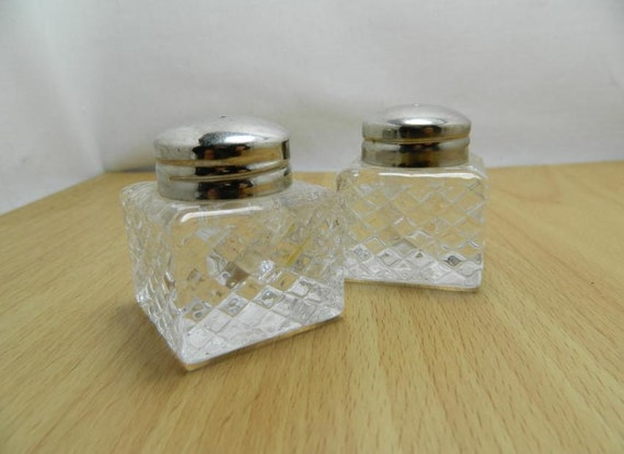 Small Vintage Crystal Salt and Pepper Shakers