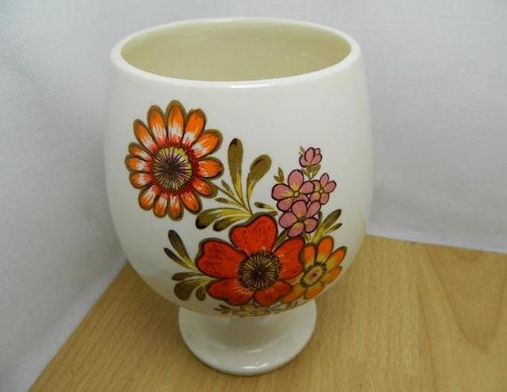 Vintage Vase or Goblet with Orange Flowers