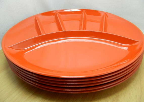 Retro Orange Fred Roberts Co Sectional Plates from Japan