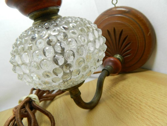 Antique Hobnail Glass Wall Sconce Lamp Fabric Cord