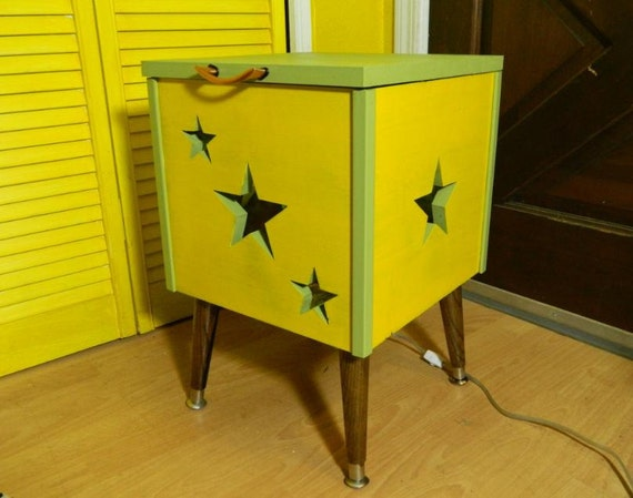 SALE Mid Century Inspired Side Table Retro Stars Light Me Up Hand Built