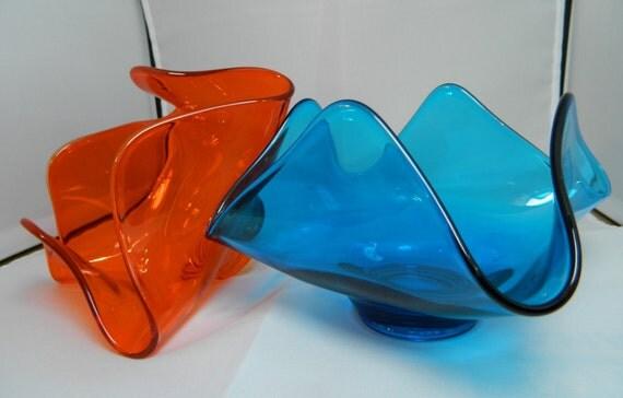 Retro Viking Epic Orange & Teal Art Glass Dish Set