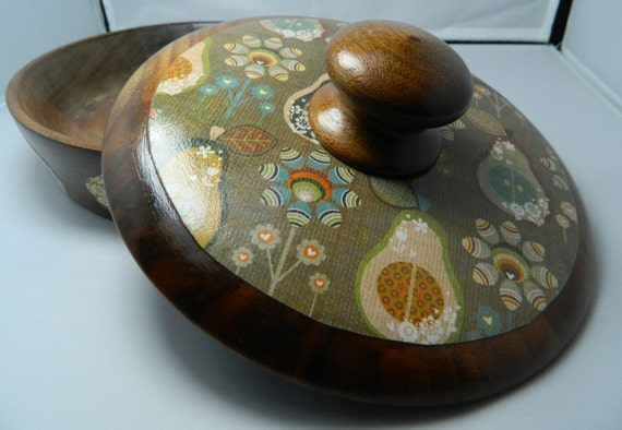 Vintage Walnut Covered Dish Hand Decorated Retro Pears