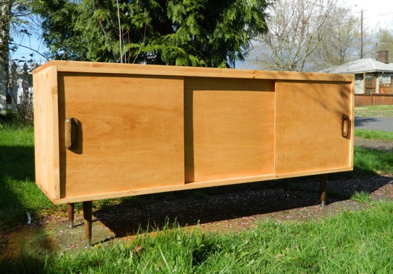 PRIVATE  Mid Century Inspired Danish Modern TV Stand Credenza Entertainment Center 60""