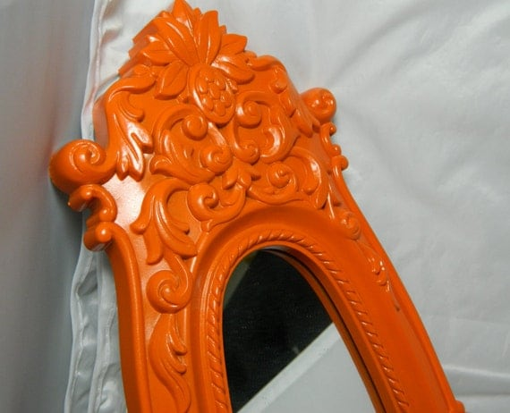 Vintage Ornate Framed Mirror Bright Orange