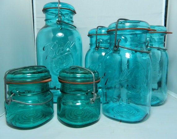 Lot of Vintage Teal Ball Ideal Jars Assorted sizes