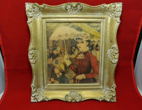 Vintage Ornate Picture Frame Woman in Red Dress